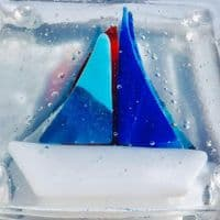 Yacht Fused Glass Coasters | Tracey Harris